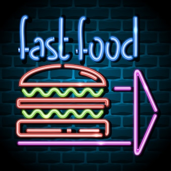 Sinal de publicidade de néon de fast-food