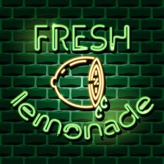 Sinal de publicidade de néon de limonada fresca