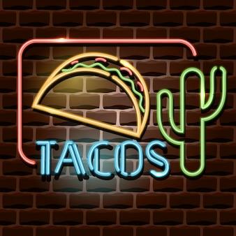 Sinal de publicidade de néon tacos