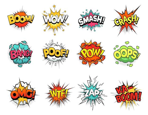 Sinal de quadrinhos dos desenhos animados estourou nuvens. balão de fala, expressão do sinal de boom e molduras de texto pop art