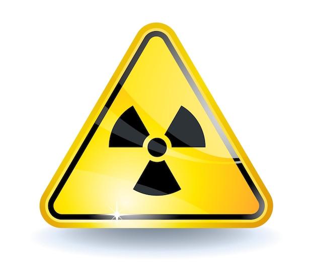 Sinal de radiação com superfície amarela brilhante