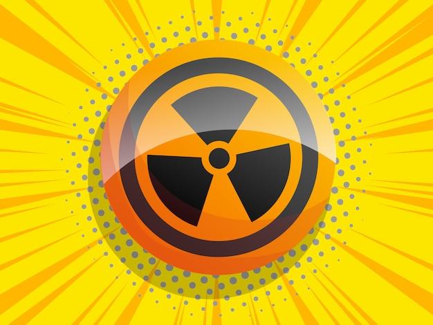 Sinal de radiação em quadrinhos fundo