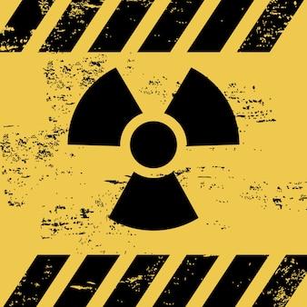 Sinal de radiação sobre ilustração vetorial de fundo amarelo