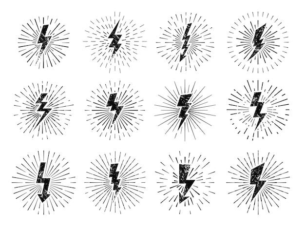 Sinal de raio vintage. explosão de energia retrô, relâmpago starburst e relâmpagos blitz flash hipster sinais conjunto de ilustração