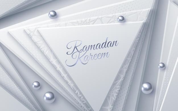 Sinal de ramadan kareem com formas geométricas de triângulo e pérolas de prata