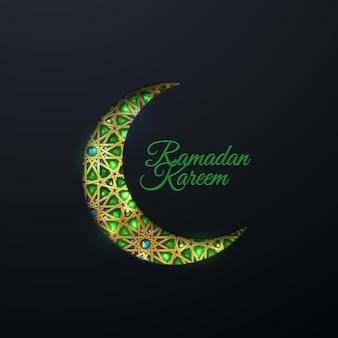 Sinal de ramadan kareem e lua crescente em corte de papel com padrão árabe tradicional e joias
