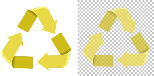 Sinal de reciclagem amarelo fundo branco