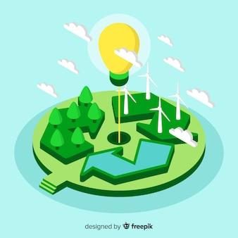 Sinal de reciclagem isométrica e lâmpada