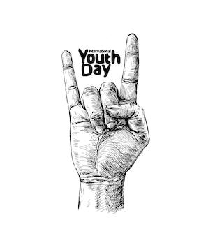 Sinal de rock and roll com texto do dia internacional da juventude.