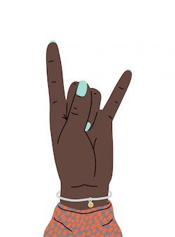 Sinal de rock and roll de gesto de mão. mão de uma mulher mostrando sinal dos chifres. um gesto da cultura heavy metal. mão levantada. estilo dos desenhos animados. ilustração design plano isolada