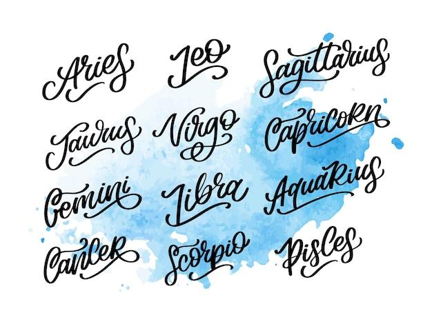 Sinal de rotulação do zodíaco. ilustração de texto de astrologia dos desenhos animados. conjunto de ícones escritos à mão do horóscopo.