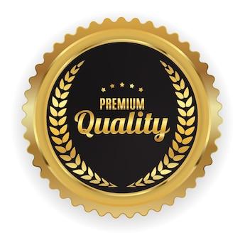 Sinal de rótulo dourado de qualidade premium.