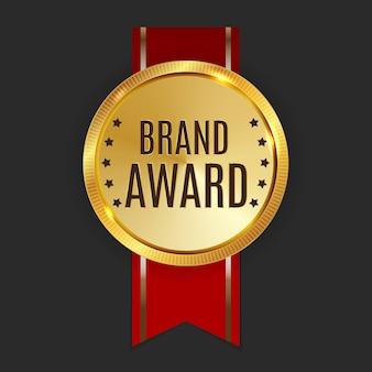 Sinal de rótulo dourado do prêmio da marca.