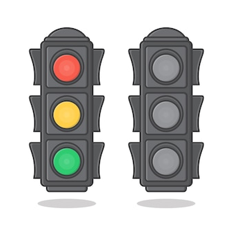 Sinal de semáforo isolado no branco