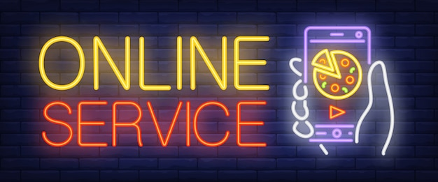 Sinal de serviço on-line em estilo neon