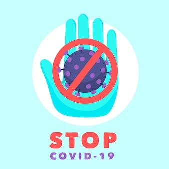 Sinal de stop com coronavírus