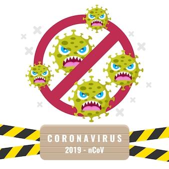 Sinal de stop com tema de coronavírus