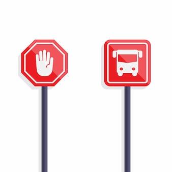 Sinal de stop e sinal de ônibus design plano