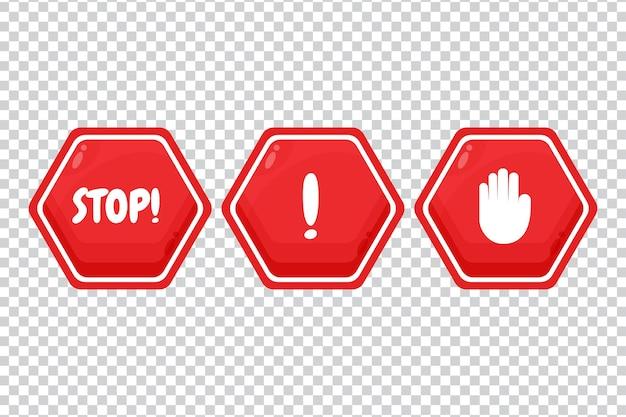 Sinal de stop vermelho com seta, palavra e mão no fundo em branco