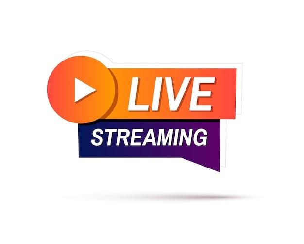 Sinal de streaming ao vivo banner geométrico de transmissão ou transmissão ao vivo online
