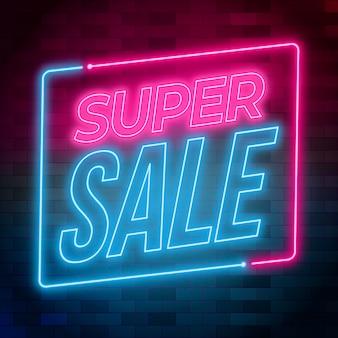 Sinal de super venda de néon