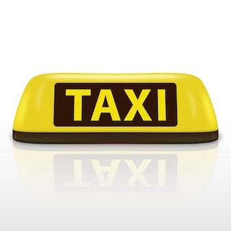 Sinal de telhado de táxi amarelo 3d. ícone de serviço da lâmpada de luz isolado