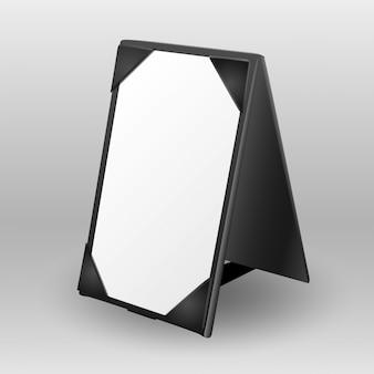 Sinal de tenda de mesa de couro em branco para comunicação do restaurante
