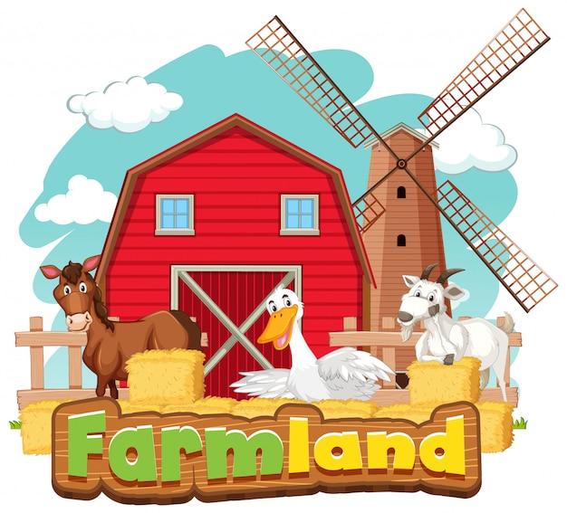 Sinal de terras agrícolas com muitos animais e celeiro vermelho