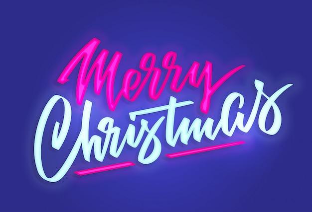 Sinal de texto de néon feliz natal