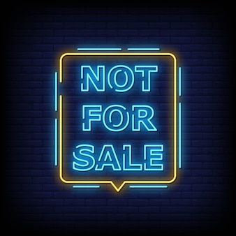 Sinal de texto de néon não está à venda