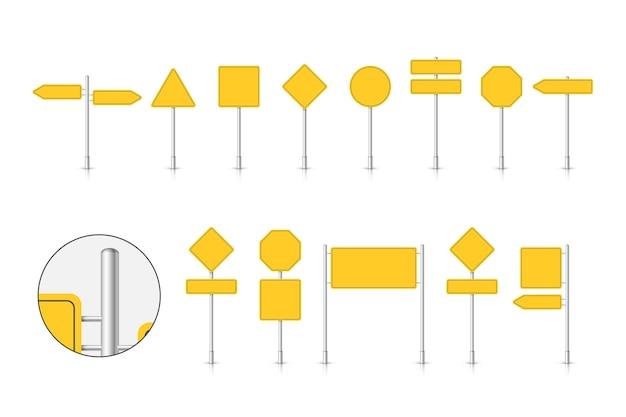 Sinal de trânsito amarelo isolado no fundo branco