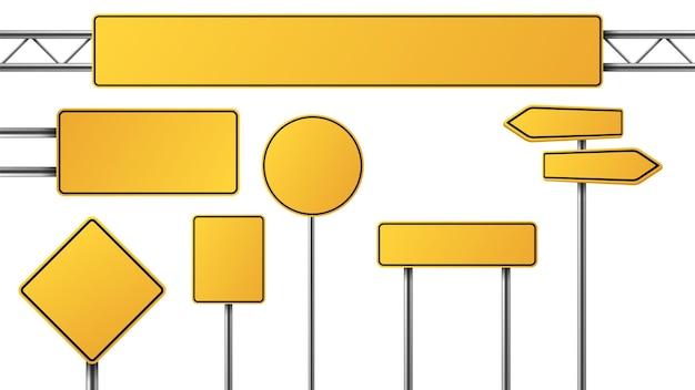 Sinal de trânsito amarelo realista. tabelas de sinais isoladas. símbolos de tráfego de rua em branco, placas de parada. conjunto de vetores de placas de sinalização. estrada de sinalização para ilustração de coleta de controle de tráfego
