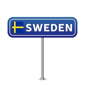 Sinal de trânsito da suécia. bandeira nacional com o nome do país na ilustração vetorial de design de placa de sinais de tráfego rodoviário azul.