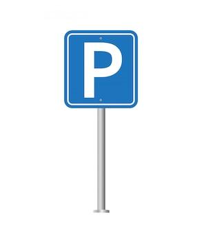 Sinal de trânsito de estacionamento. lugar de estacionamento para o carro.
