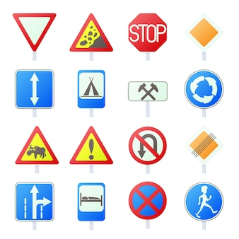 Sinal de trânsito defina ícones no estilo cartoon isolado vector