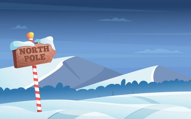 Sinal de trânsito do pólo norte. nevado com neve árvores noite madeiras país das maravilhas inverno férias cartum ilustração