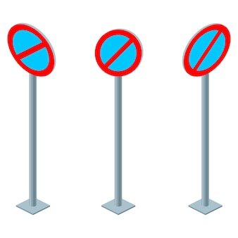 Sinal de trânsito sem espera ou sem regras de trânsito de estacionamento. definir ilustração isométrica isolada no branco