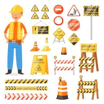 Sinal de trânsito tráfego blocos de aviso e barricada na estrada e conjunto de ilustração de personagem construtor de desvio de bloqueio de estrada e barreira de obras bloqueadas isolado no fundo branco