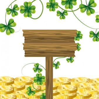 Sinal de trevo de moeda de ouro leprechaun