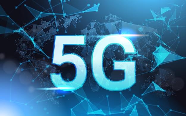 Sinal de velocidade de conexão de internet 5g over futurista baixo poli malha wireframe