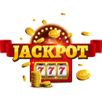 Sinal de vencedor de slot de casino de fundo de jackpot. design da máquina de bingo 777 do big game money banner