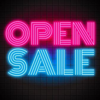 Sinal de venda aberta de néon