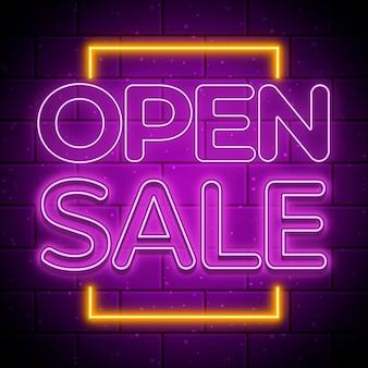 Sinal de venda aberto de néon roxo