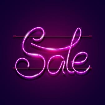 Sinal de venda brilhante de néon