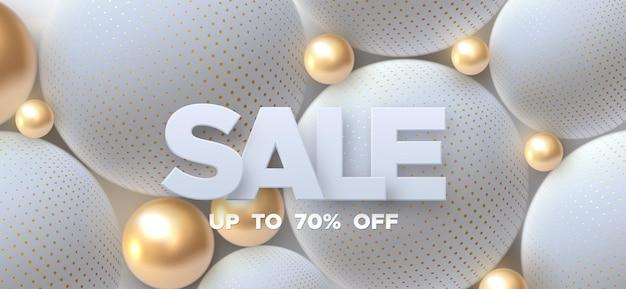 Sinal de venda com esferas brancas e douradas