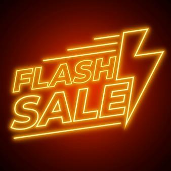 Sinal de venda de flash de néon amarelo