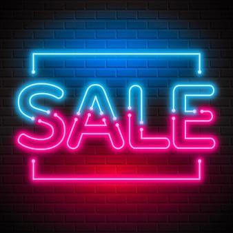 Sinal de venda de néon azul e rosa