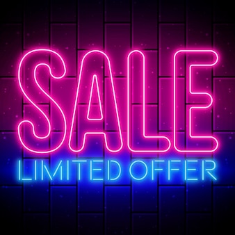 Sinal de venda de néon com oferta limitada