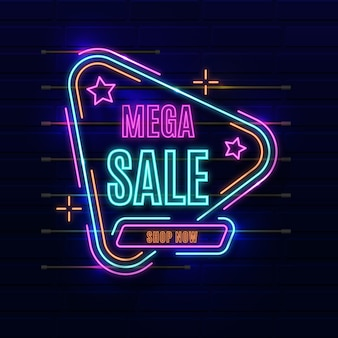 Sinal de venda de néon de cor brilhante
