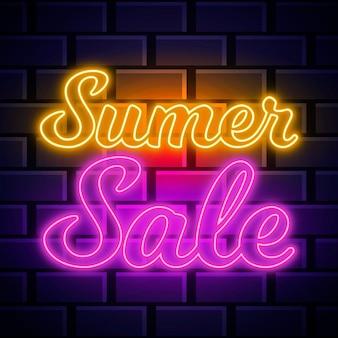 Sinal de venda de néon de verão